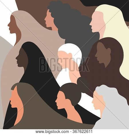 Vector Concept Background Illustration Of Female Portraits. Half-face Portraits Of Beautiful Women O