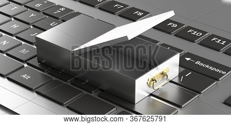 Safe Bank Deposit Drawer Open Empty On Computer Keyboard Background. 3D Illustration
