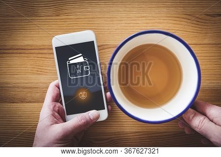 Online Payment Authorization On Smart Phone Concept. Internet Banking User And Secure Payment In E-s