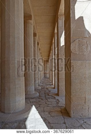 Columns With Diminishing Perspective At The Ancient Egyptian Temple Of Hatshetup In Luxor