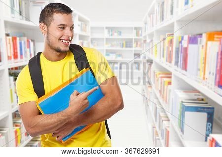 Student Showing Pointing Marketing Ad Advert Library Learning Copyspace Copy Space Young Man People