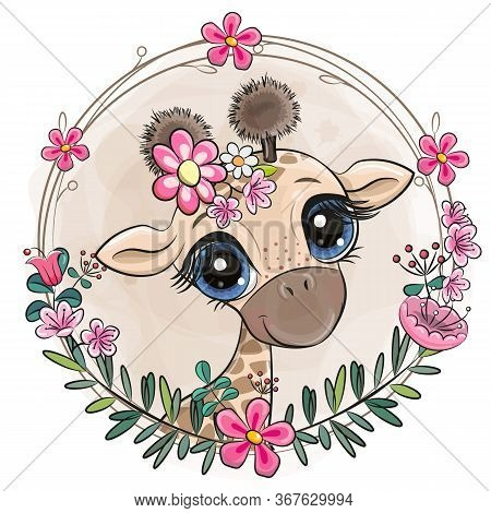 Cute Cartoon Giraffe With Flowers On A White Background