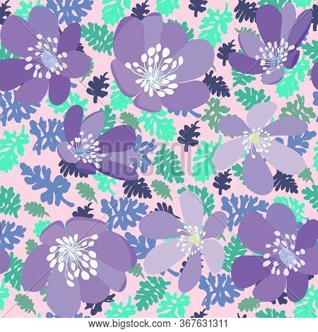 Vector Hand Drawn Herbs And Flowers Pattern Texture On Pink Background. Green Leaves And Violet Flow