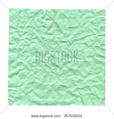 Crumpled Green Paper. Background For Greetings, Invitations. Item For Scene Creator And Other Design