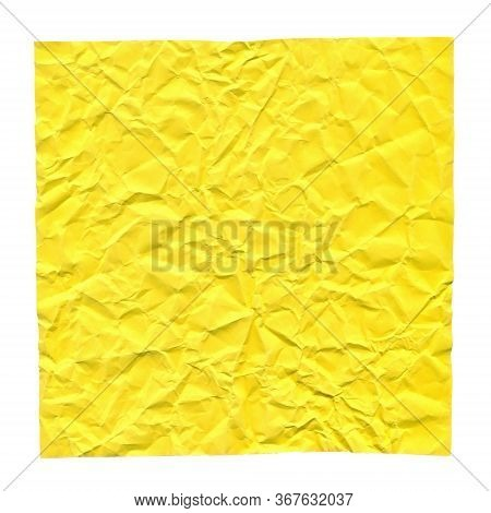Crumpled Yellow Paper. Background For Greetings, Invitations. Item For Scene Creator And Other Desig