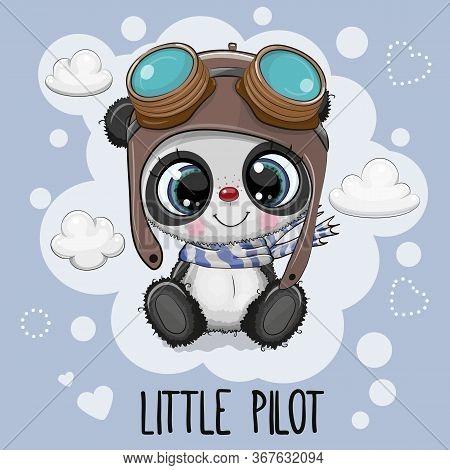 Cute Cartoon Panda Bear In A Pilot Hat On A Blue Background