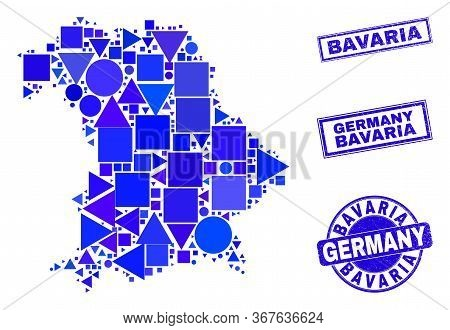 Vector Mosaic Bavaria Land Map. Geographic Collage In Blue Color Tones, And Corroded Round And Recta