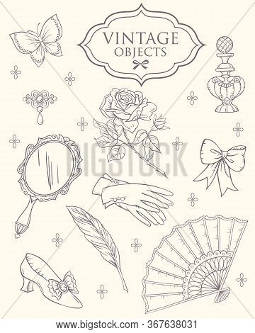 Antique Fashion Lady's Accessories. Set Of Lady's Accessories 18 Century, Vector Linen Illustration.