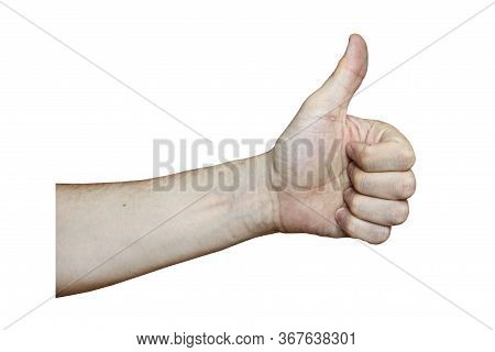 Male Hand With Fair Skin Shows A Gesture, Hand On A White Isolation Background. Thumb Up, Like Sign.