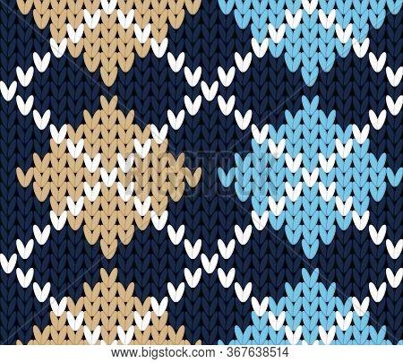 Vector Knitting Seamless Background: Geometric Argyle Pattern