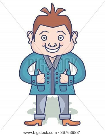 Vector Drawing Caricature Of A Funny Man In Bright Clothes