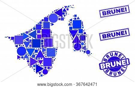 Vector Mosaic Brunei Map. Geographic Collage In Blue Color Tones, And Textured Round And Rectangle S