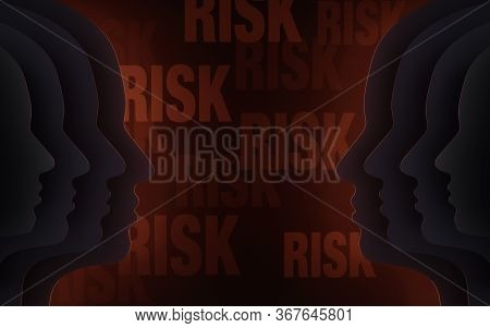 Illustration Of Two Groups Of Head Silhouettes Facing Each Other In The Dark, Bright Red Light Behin