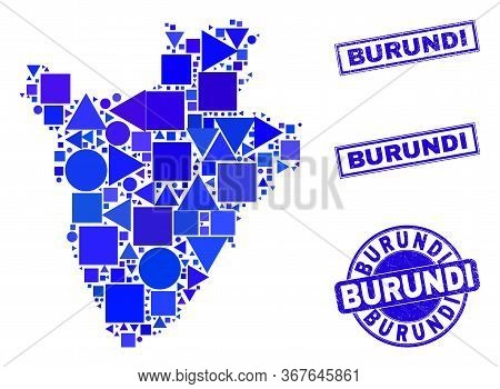 Vector Mosaic Burundi Map. Geographic Collage In Blue Color Shades, And Unclean Round And Rectangle