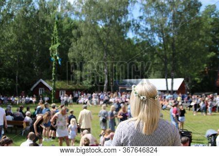 The Traditional Swedish Midsummer Celebration In Sweden Called Midsommar