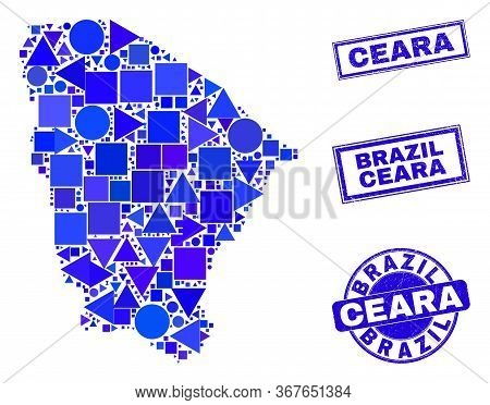 Vector Mosaic Ceara State Map. Geographic Plan In Blue Color Shades, And Grunge Round And Rectangle