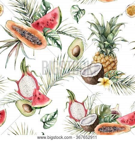 Watercolor Tropical Seamless Pattern With Pineapple, Papaya, Dragon Fruit, Watermelon And Coconut. H