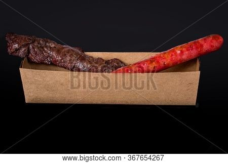 Assorted Skewers On Black Background. In Brazil It's Called Espetinho