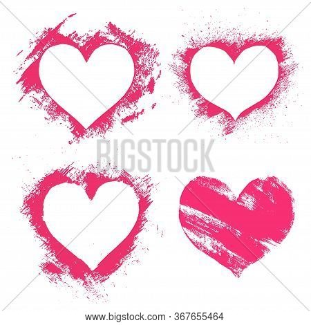 Set Of Hand Paint Vector Pink Hearts In Grunge Style, Isolated On White.