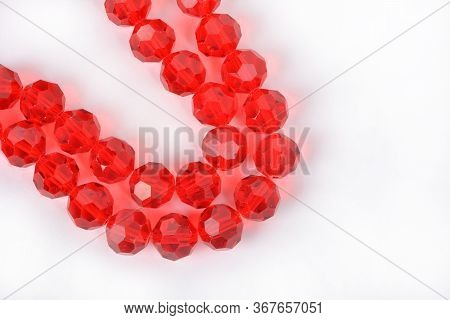 Beautiful Red Glass Sparkle Crystal Isoalted Beads On White Background. Use For Diy Beaded Jewelry