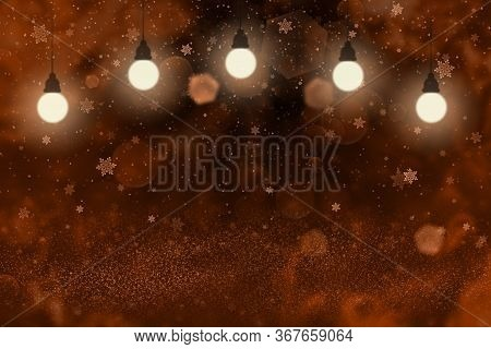 Red Beautiful Shiny Abstract Background Glitter Lights With Light Bulbs And Falling Snow Flakes Fly