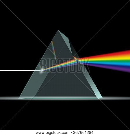 Prism Light Spectrum Realistic Composition With Rainbow Ray Of Light Coming Through 3d Trangle Shape