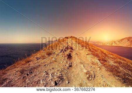 Crimea Landscapes. Beautiful Landscape, Sea And Mountains. Sunset In Ordzhonikidze, Crimea.