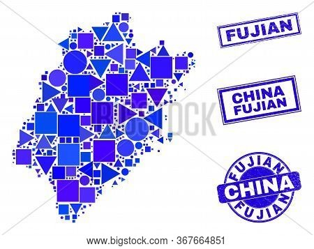 Vector Mosaic Fujian Province Map. Geographic Plan In Blue Color Hues, And Textured Round And Rectan