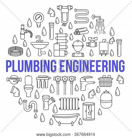 Circle Banner With Flat Line Icons Of Plumbing Engineering And Service On A White Background. Templa