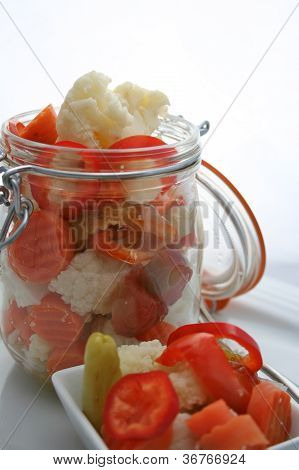 Fresh Giardiniera Salad In A Canning Jar