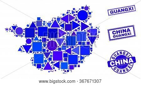 Vector Mosaic Guangxi Province Map. Geographic Collage In Blue Color Shades, And Grunge Round And Re
