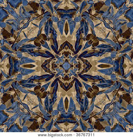poster of art nouveau colorful ornamental vintage pattern in blue