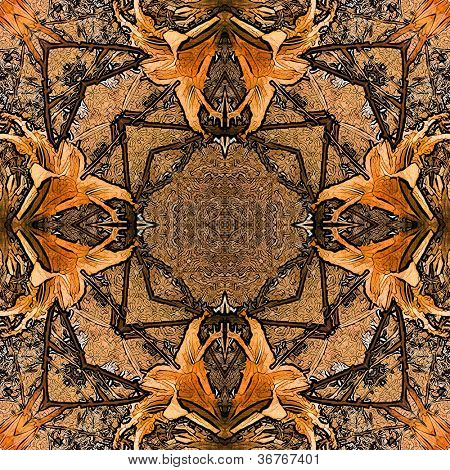 poster of art nouveau colorful ornamental vintage pattern in brown