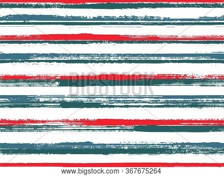 Hand Drawn Paint Stripes Fabric Print Seamless Vector. Lines Art Tablecloth Pattern. Hand Painted St