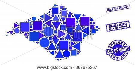 Vector Mosaic Isle Of Wight Map. Geographic Plan In Blue Color Tints, And Rubber Round And Rectangle