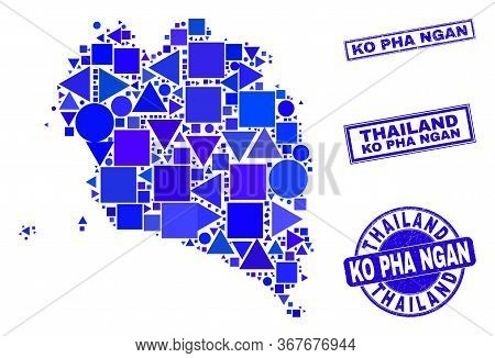 Vector Mosaic Ko Pha Ngan Map. Geographic Scheme In Blue Color Tinges, And Unclean Round And Rectang