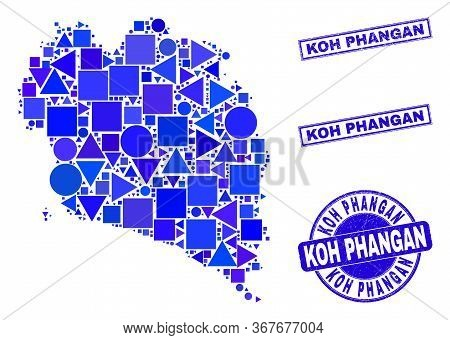 Vector Mosaic Koh Phangan Map. Geographic Plan In Blue Color Tinges, And Scratched Round And Rectang
