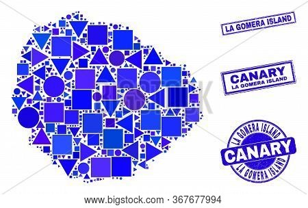 Vector Mosaic La Gomera Island Map. Geographic Plan In Blue Color Shades, And Rubber Round And Recta