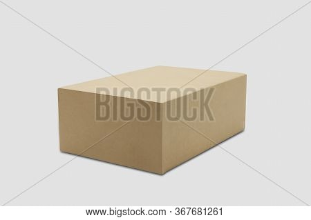 Mockup Closed Brown Paper Box Isolated On White Background, Package And Container, Business With Log
