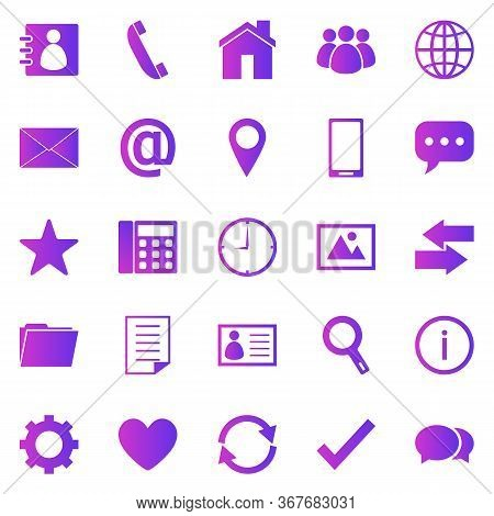 Contact Gradient Icons On White Background, Stock Vector