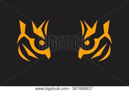 Tiger Print. Eye Of Tiger On Black Background. Flat Geometric Illustration Of A Predator.