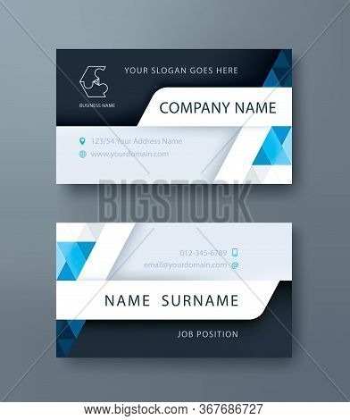 Corporate Business, Personal Name Card Design Template. Vector Illustration. Front And Back Page.