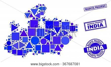 Vector Mosaic Madhya Pradesh State Map. Geographic Collage In Blue Color Tinges, And Dirty Round And