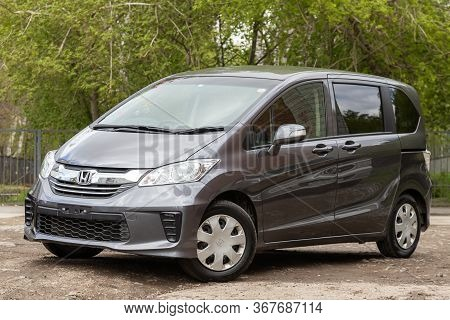 Novosibirsk/ Russia - May 03 2020: Silver Honda Freed,  Front View.  Modern  Minivan Made In Japan O
