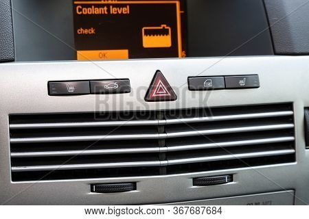 Novosibirsk/ Russia - May 03 2020:  Opel Astra, Close-up Of Black Of Seat Heating, Open Trunk, Alarm