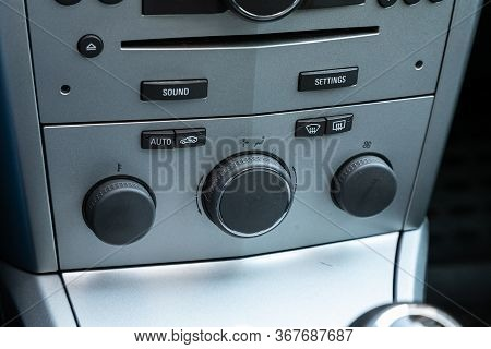 Novosibirsk/ Russia - May 03 2020:  Opel Astra, Close Up Of  Car Panel With The Air Conditioning But