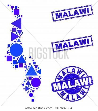 Vector Mosaic Malawi Map. Geographic Plan In Blue Color Tones, And Dirty Round And Rectangle Stamps.