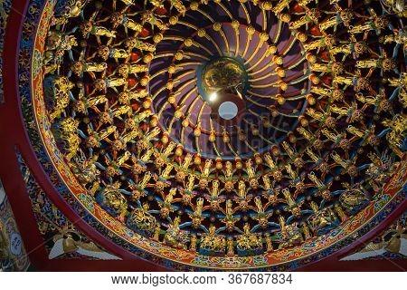 Sun Moon Lake, Taiwan- November 15, 2019: Building Interior At The Top Of Ceiling Wen Wu Temple
