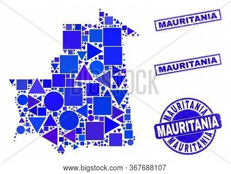 Vector Mosaic Mauritania Map. Geographic Collage In Blue Color Tints, And Rubber Round And Rectangle