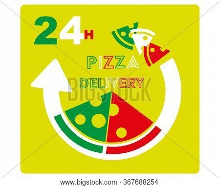 24h Pizza Delivery Vector Illustration Drawing Sign